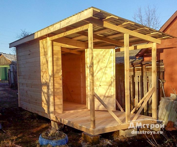 Хозблок 2x5 м деревянный с навесом