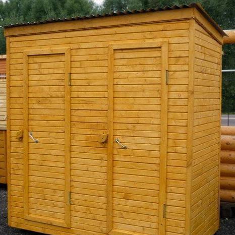 Хозблок деревянный 1х3 м с двумя дверями